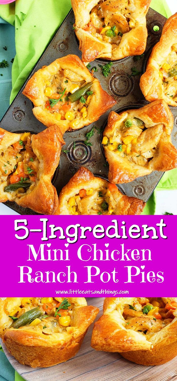 5-Ingredient Mini Chicken Ranch Pot Pies