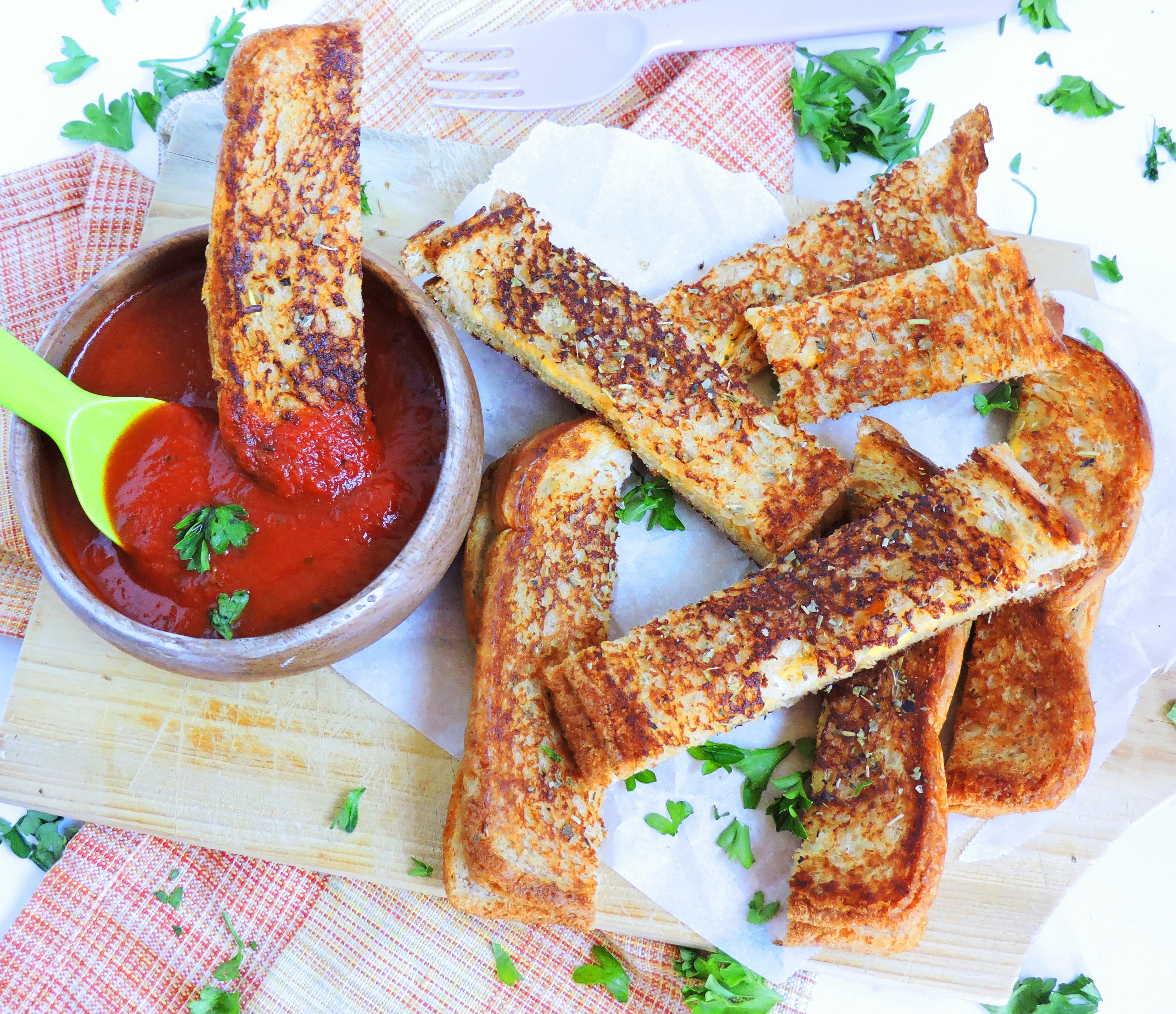 Garlic Bread Grilled Cheese Sticks