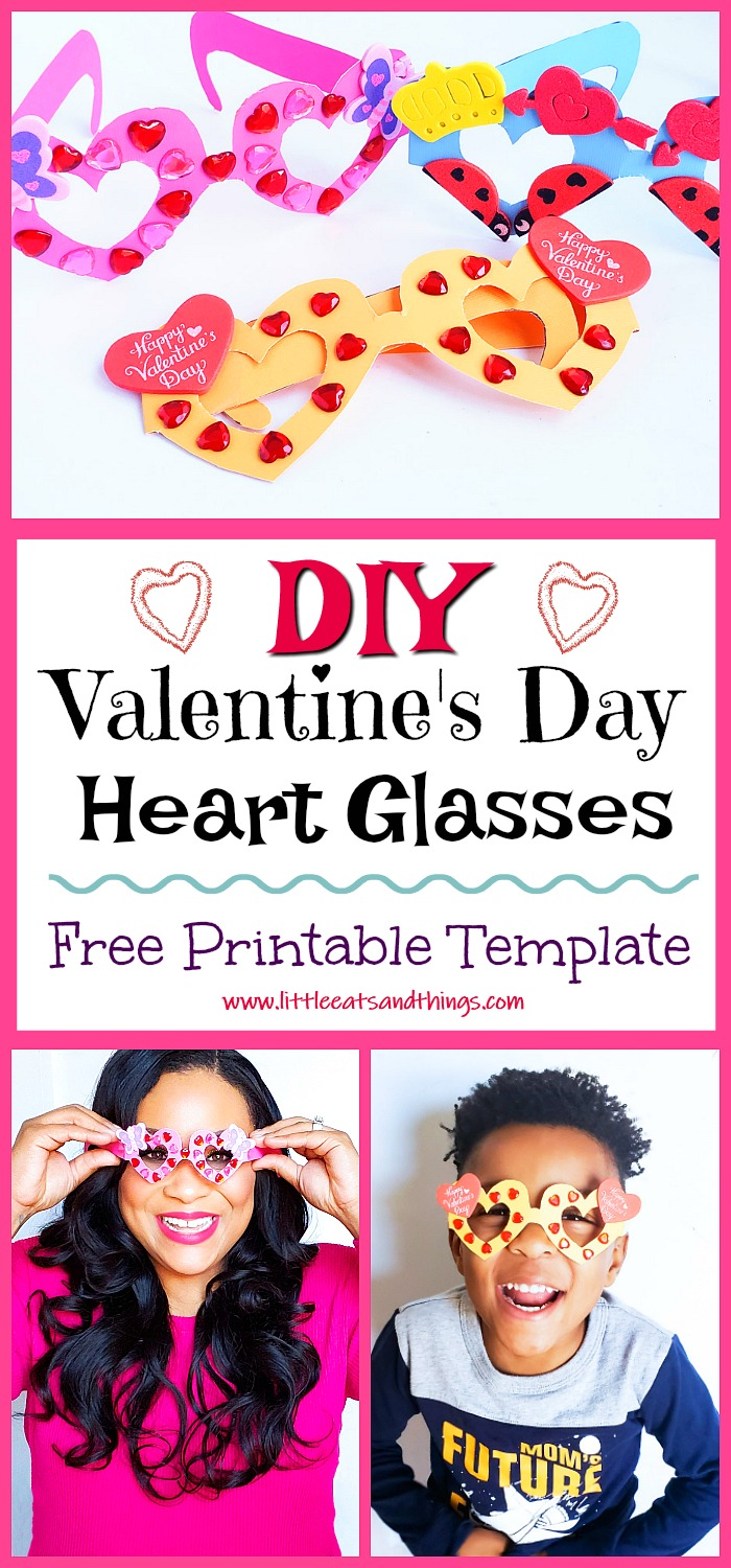Kids' Valentine's Glasses – Pink, Orange, and Blue Cute Valentine's Day Glasses. make this printable set of fabulous Heart Glasses. Adorable Kids Valentines idea #printables #valentinesday #valentines #kidsvalentines