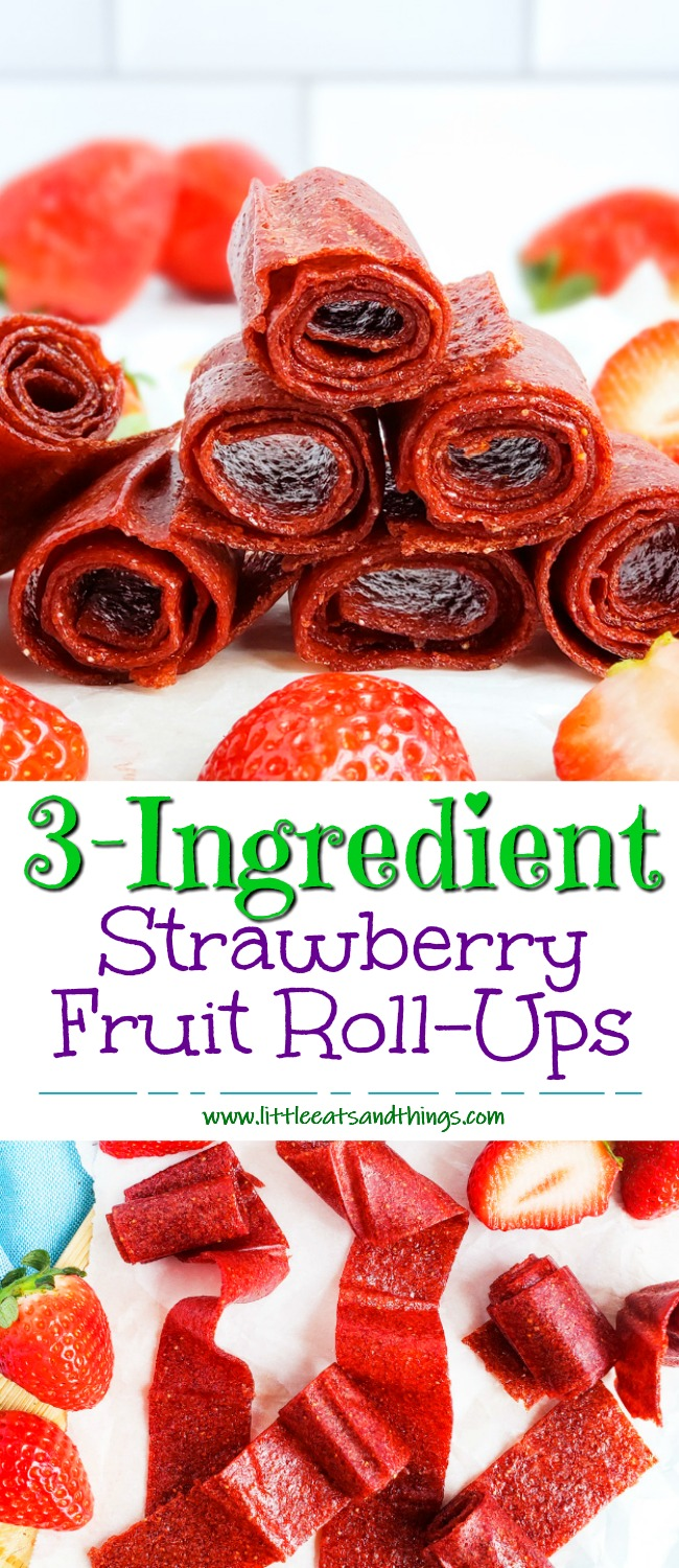 These 3-Ingredient Homemade Strawberry Fruit Roll-Ups are such an easy, healthy, and delicious way to make your very own fruit leather…. without any fancy equipment! Easy Healthy Strawberry Fruit Snacks. #fruitleather #strawberryfruitsnacks #fruitrollup #healthysnacksforkids littleeatsandthings.com