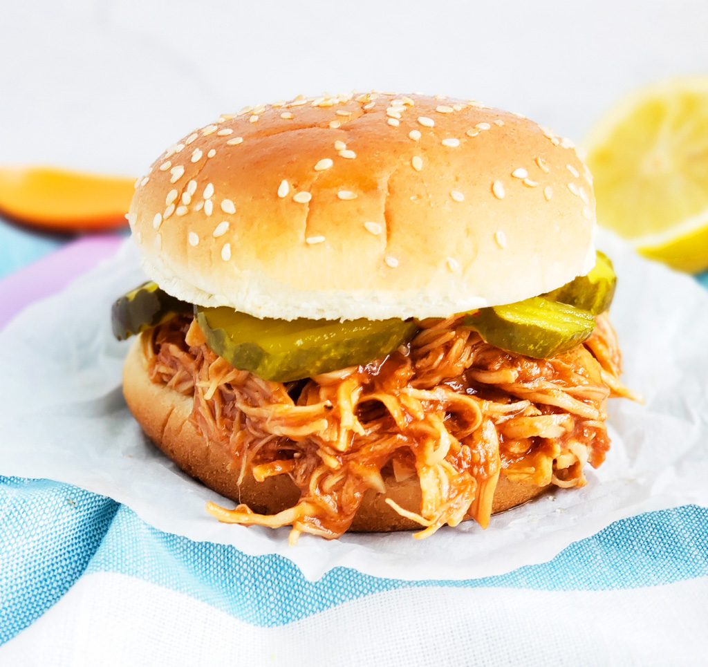 Easy 3-Ingredient Slow Cooker BBQ Chicken- The Best Slow Cooker Pulled Chicken! Fall-apart tender, juicy and delicious! | littleeatsandthings.com