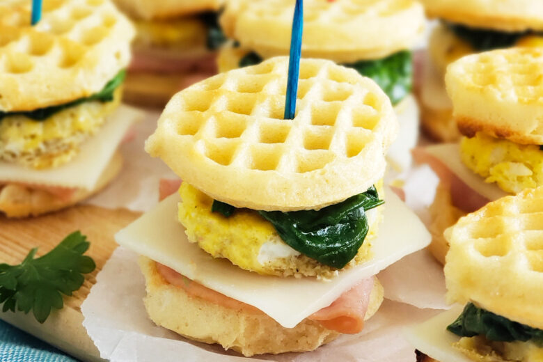 And what better way to celebrate WEGGSDAY than with these Mini Ham, Egg, & Spinach Waffle Sliders made with mini eggo waffles. Littleeatsandthings.com