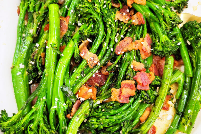 This Garlicky Sautéed Broccolette or Broccolini with Bacon recipe is simple to make, and a delicious accompaniment to any holiday menu. littleeatsandthings.com