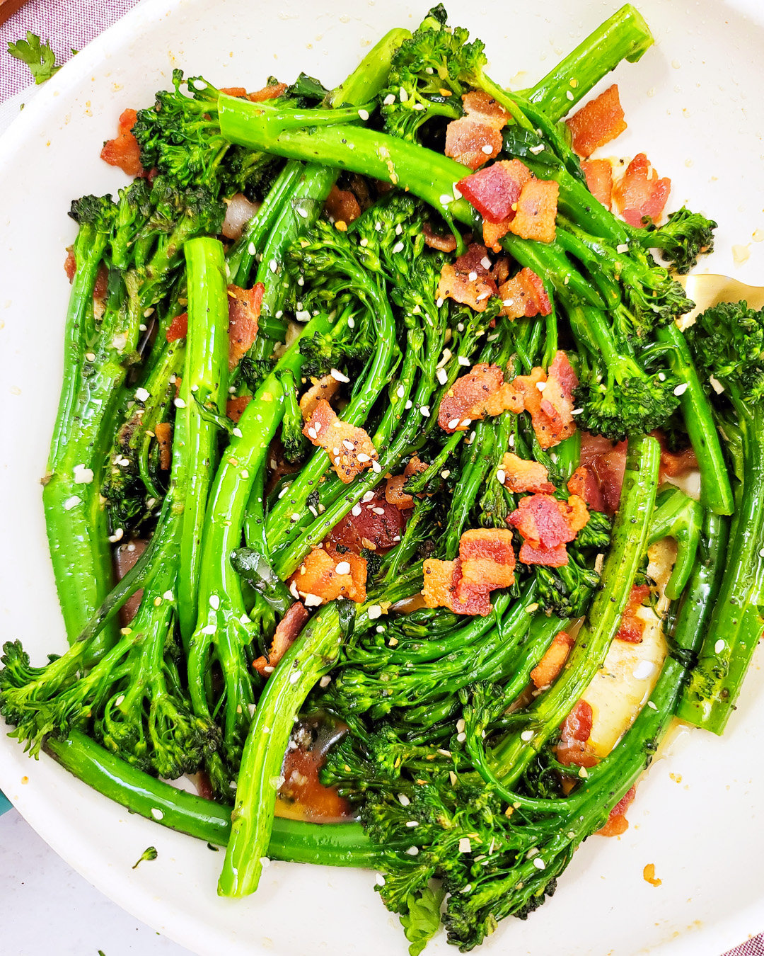 Garlicky Sautéed Broccolette with Bacon
