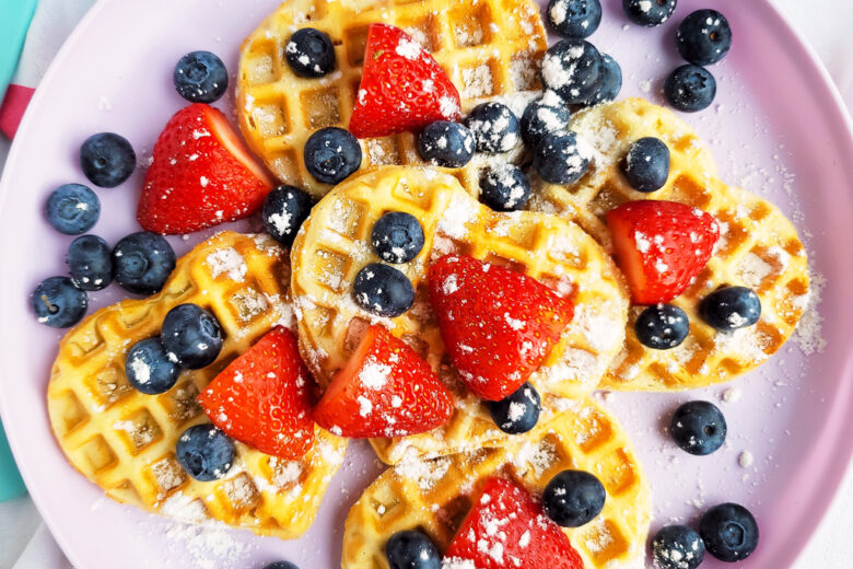 Berry Yummy Mini Heart Waffles