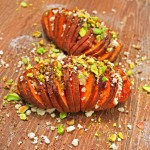Hasselback Sweet Potatoes with Roasted Pistachios