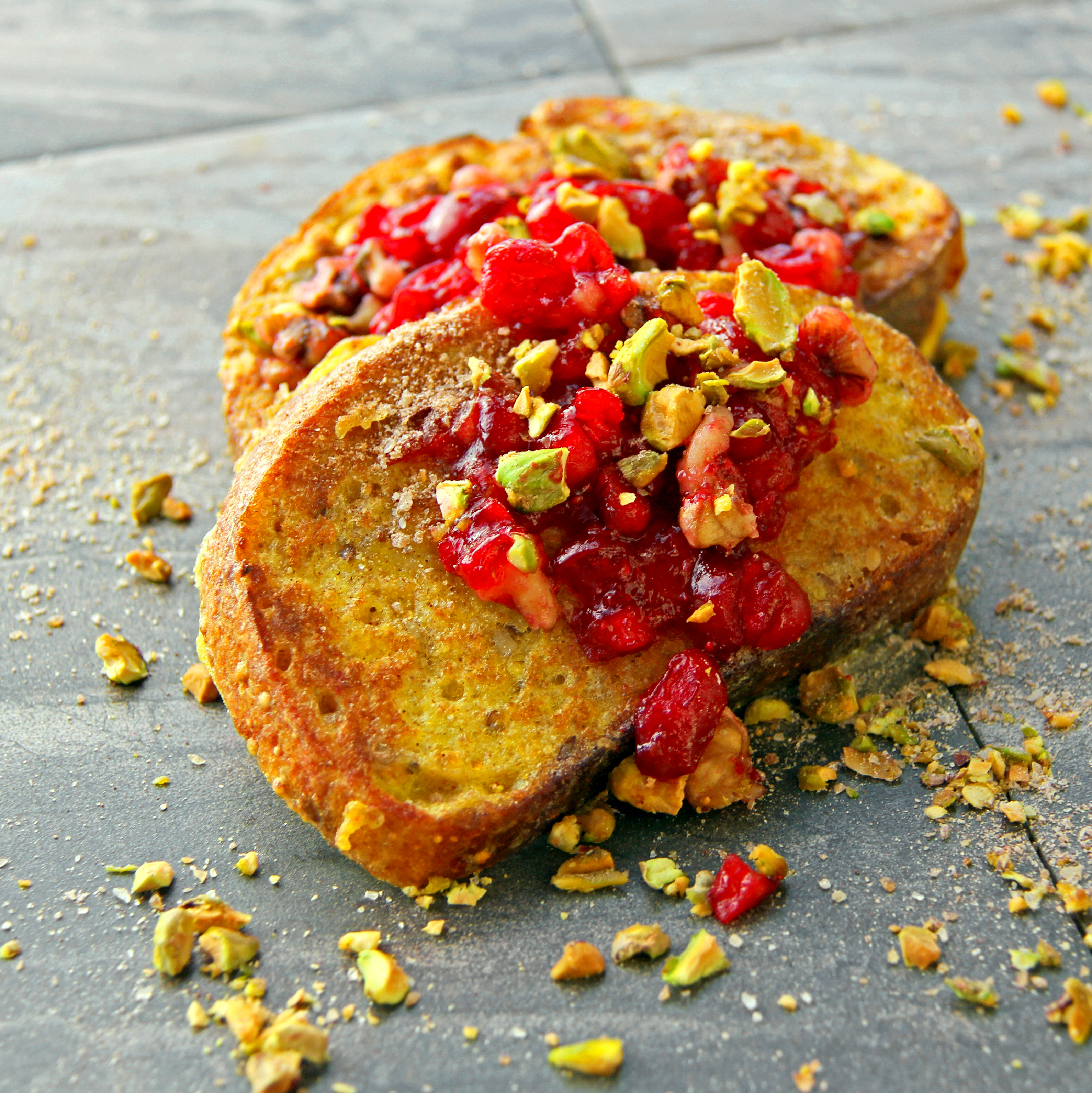 French Toast with Cran-Apple Conserve & Roasted Pistachio
