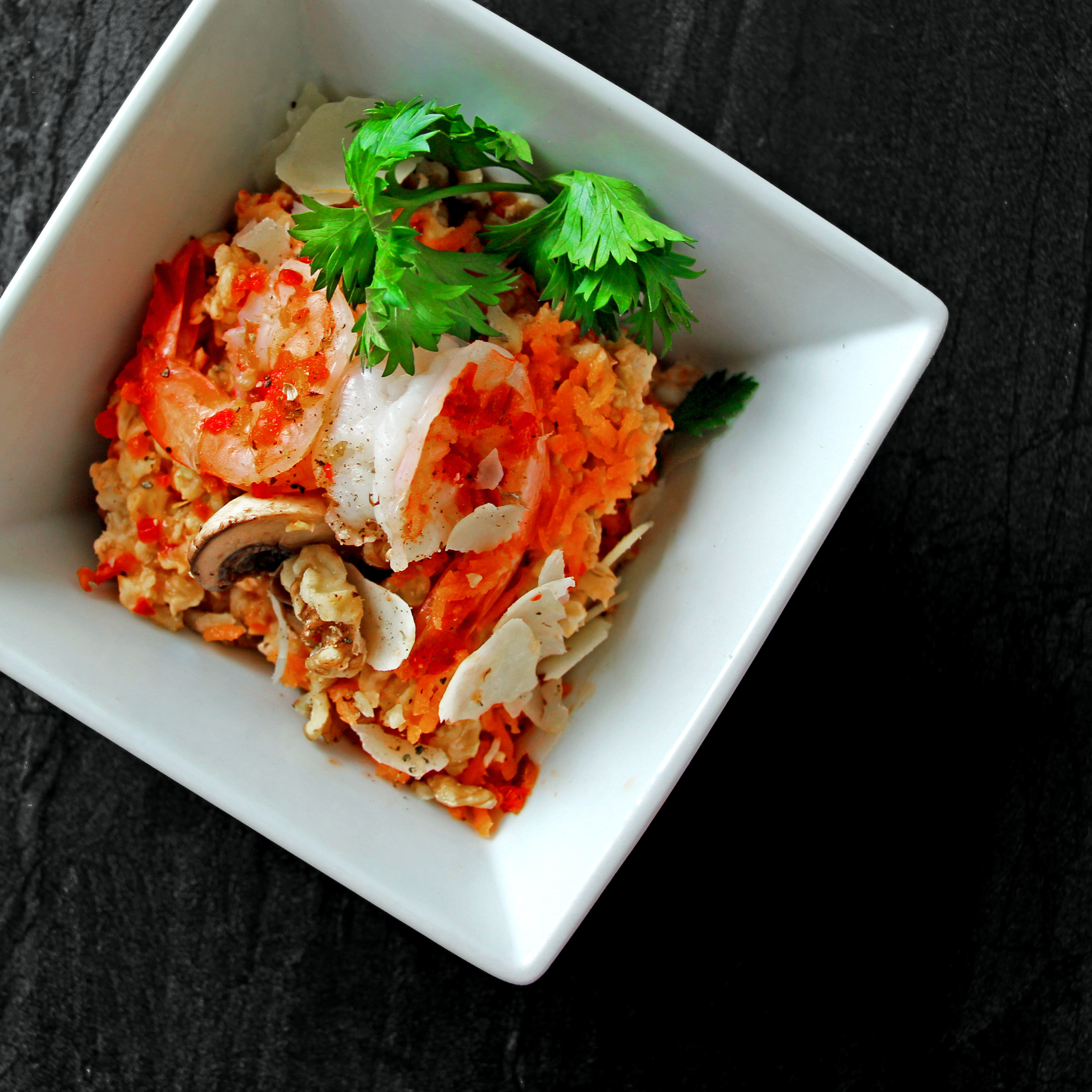 Creole Oatmeal with Grilled Prawn