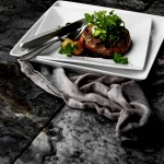 Bacon-wrapped Filet Mignon with Red Wine Sauce