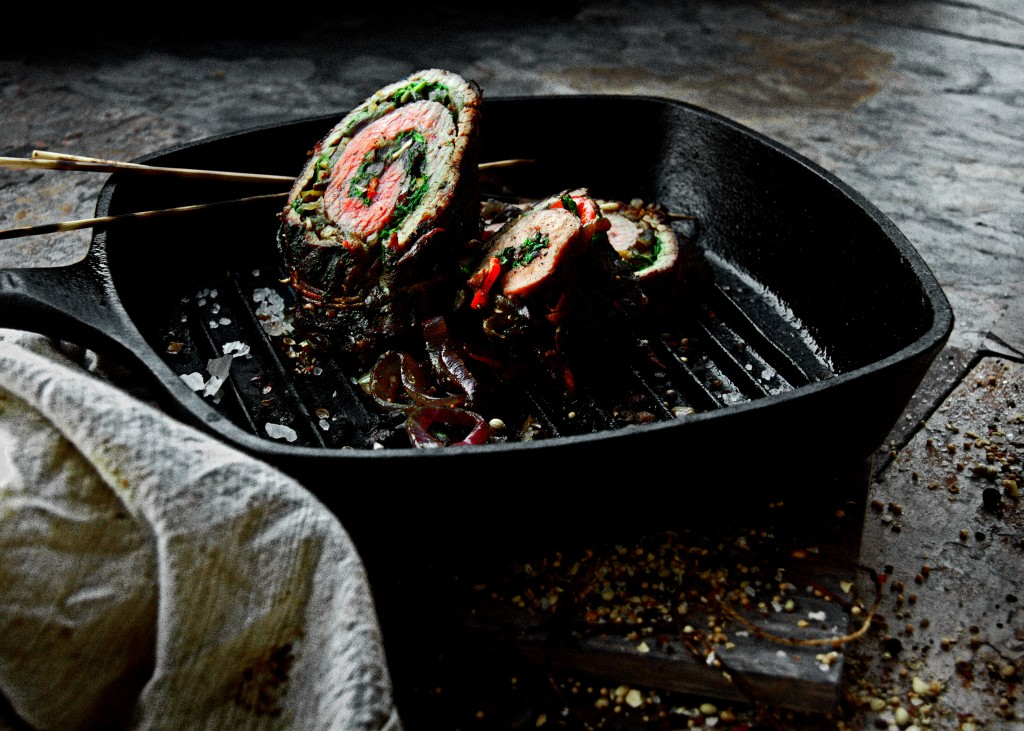 Rustic Stuffed and Grilled Flank Steak Roulades