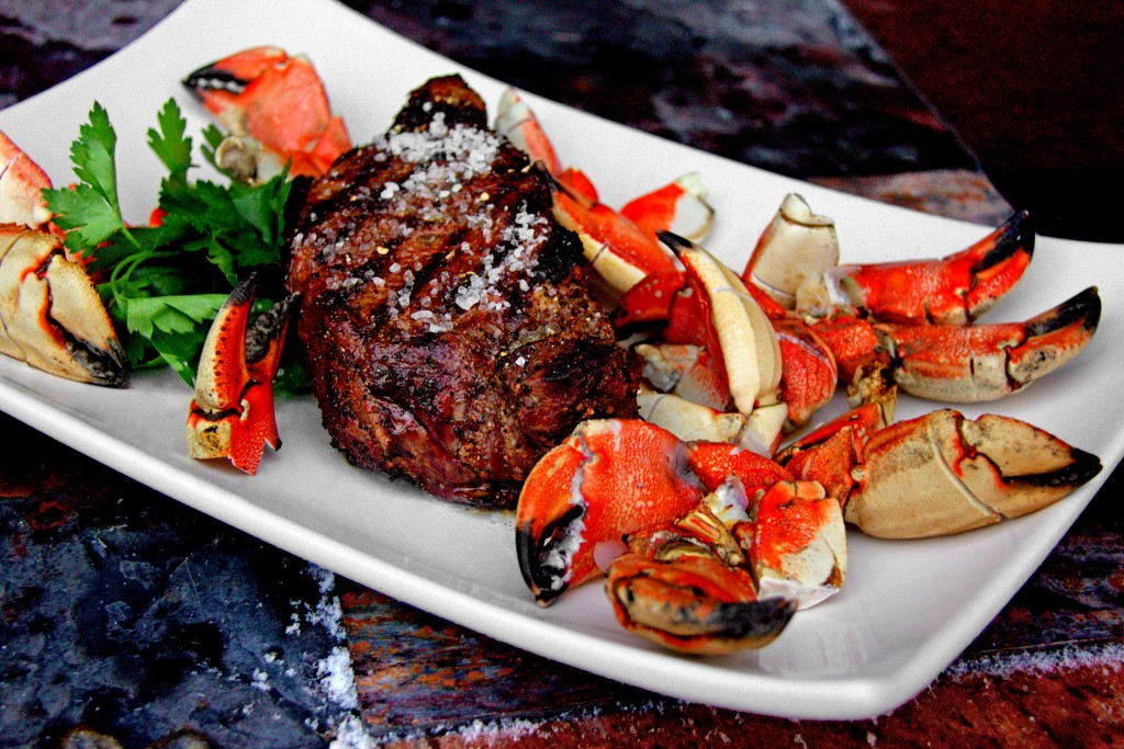 Valentine's Date Night - Grilled T-Bone Turf and Crab Claw Surf