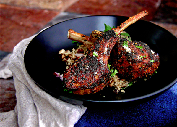 Seared Moroccan Spice Lamb Chops with Toasted Hazelnut and Minty CousCous Salad
