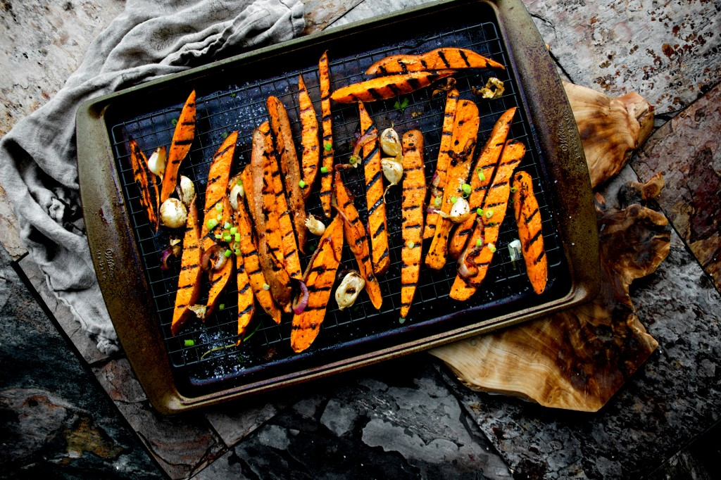 Crisp - Sweet and Smoky - Grilled Maple-Ginger Sweet Potato Fries