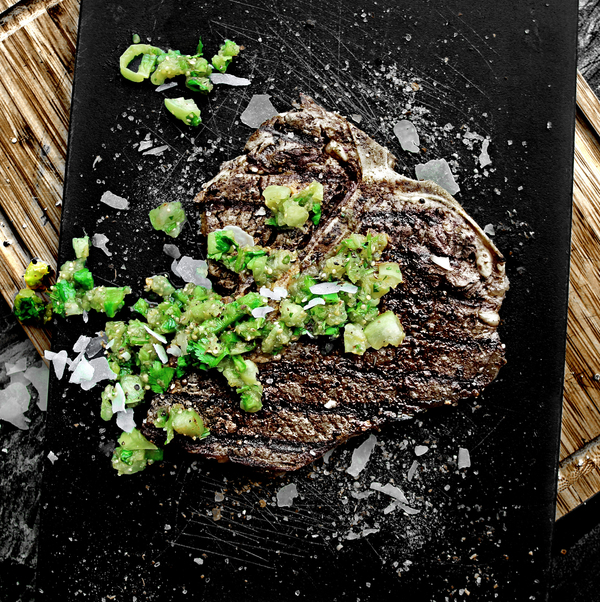 Spice-Encrusted Grilled Porterhouse with Tomatillo Salsa Caliente