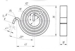 flat spiral spring drawing