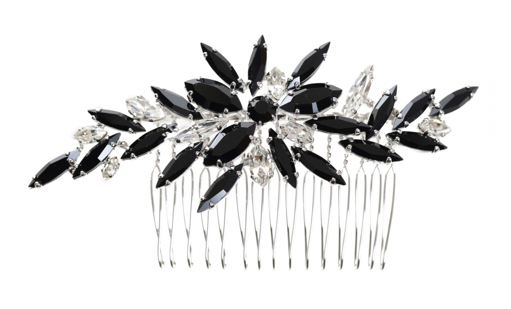 Masaaki Takahashi hair band in sterling silver-plated brass with Swarovski crystals
