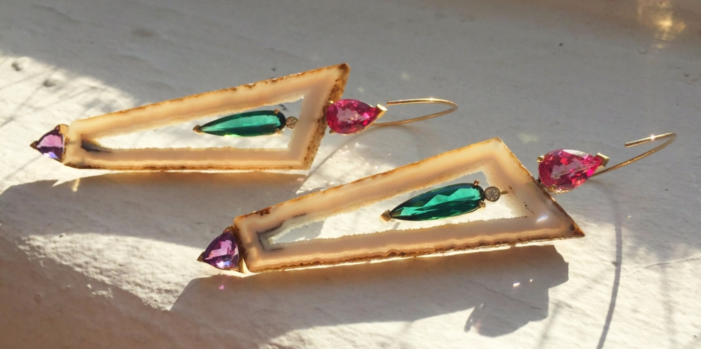 Earrings in 14k yellow and white gold with polyhedral agate druzy slices, green tourmalines, pink topaz, amethyst, and diamonds by Mark Loren Designs; 239-482-4664; marklorensan@gmail.com