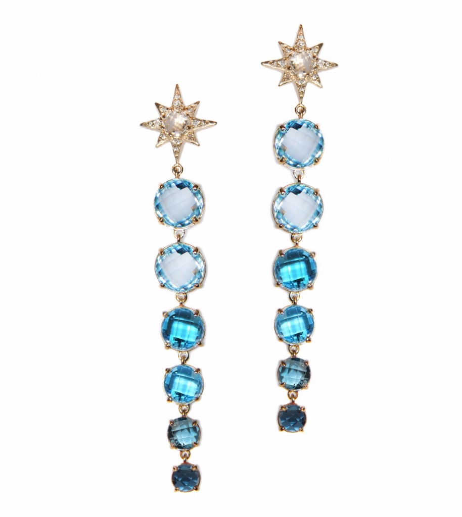 Multistone Matchstick earrings in 14k yellow gold with 22 cts. white and blue topaz and 0.22 ct. t.w. diamonds, $2,950; Anzie For purchase: Buy online at Stephanie Gottlieb