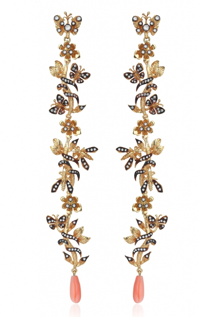 Drop earrings in 18k yellow gold with 1.24 cts. t.w. diamonds and coral accents, $12,700; Aida Bergsen at Rock House For purchase: Buy from Rock House at 970-948-8782 orbeth@rockhousenyc.com