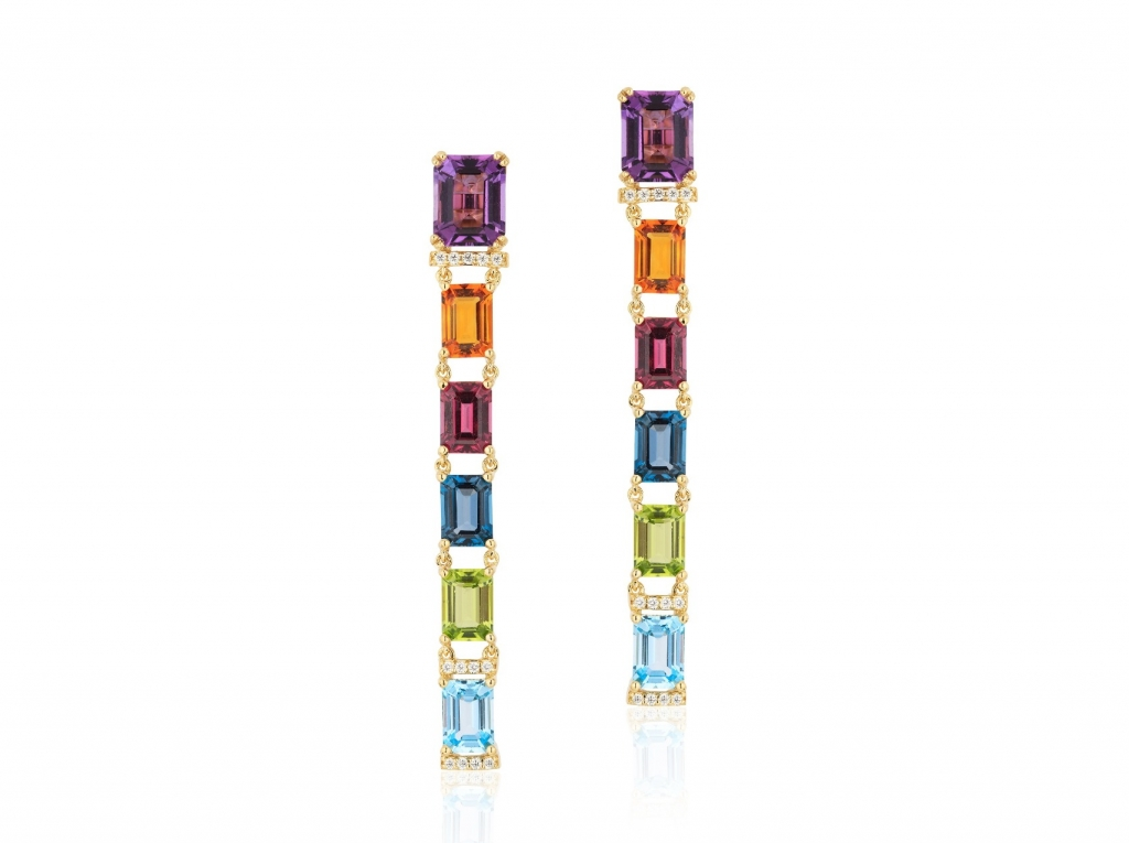 Gossip long earrings in 18k yellow gold with 4 cts. amethyst, 2.1 cts. t.w. garnets, 2.1 cts. t.w. blue topaz, 2.02 cts. London blue topaz, 1.6 cts. citrine, 0.96 ct. t.w. peridot, and 0.19 ct. t.w. diamonds, $4,200; Goshwara