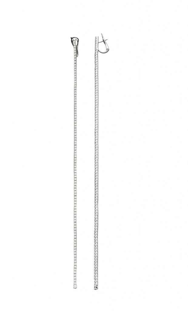 Drop earrings (eight inches) in 18k white gold with 3.47 cts. t.w. G-VS-quality diamonds, $19,900; Mattia Cielo at Rock House For purchase: Buy from Rock House at 970-948-8782 orbeth@rockhousenyc.com