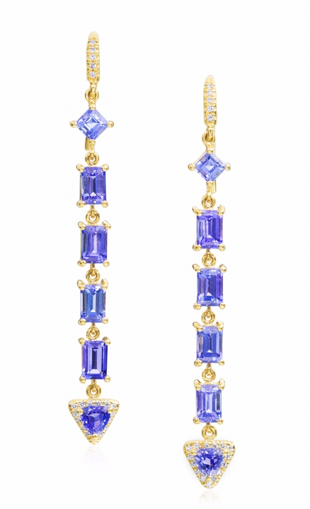 Gemma earrings in 18k yellow gold with 8.27 cts. tanzanite and 0.26 ct. t.w. diamonds, $7,140; Lauren K. For purchase: Buy from Lauren K. at 212-719-2067 or info@laurenk.com