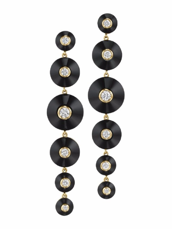 Pyramide drop earrings in 18k yellow gold with black onyx and 0.80 ct. t.w. diamonds, $7,000; Maria Canale For purchase: Buy online from Maria Canale