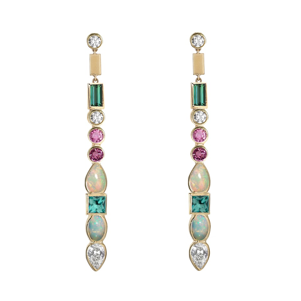 Matchstick earrings in 14k yellow gold are two inches long with white sapphires, emeralds, opals, and pink sapphires, $3,300; Ilana Ariel For purchase: Buy online at Broken English Jewelry in New York City