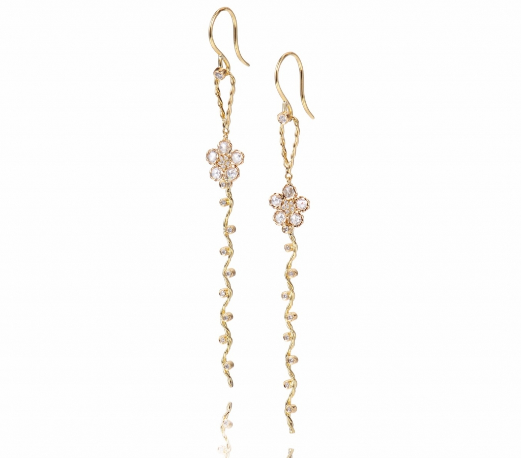 Persephone earrings in 18k yellow gold with 0.804 ct. rose-cut diamonds, $3,900; Jewelyrie by Huan Wang For purchase: Buy online from Jewelyrie by Huan Wang