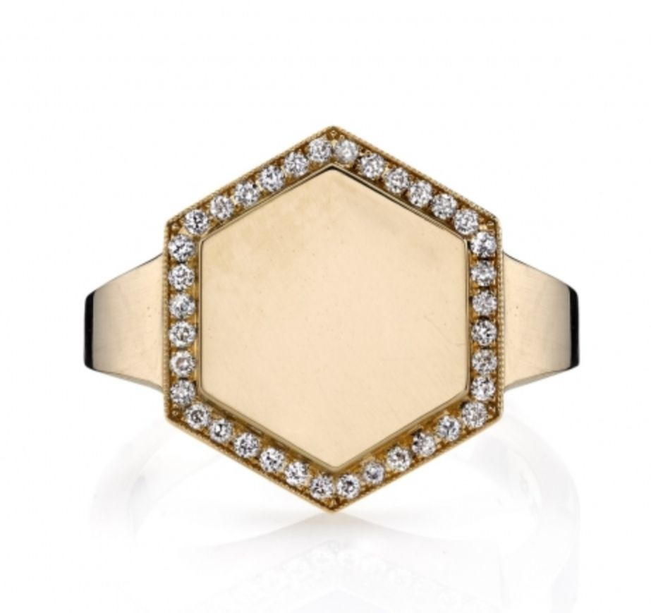 Zoe vintage-inspired hexagon-silhouette signet ring in 18k yellow gold with 0.15 ct. t.w. Old European-cut diamonds on the frame, $5,000; Single Stone