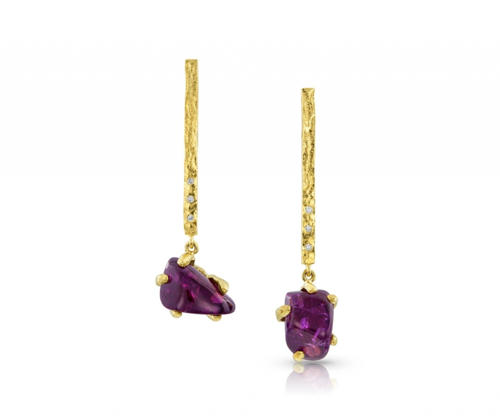 Drop earrings in 14k yellow gold with purple garnets and diamonds, $1,300 at K.Jon's