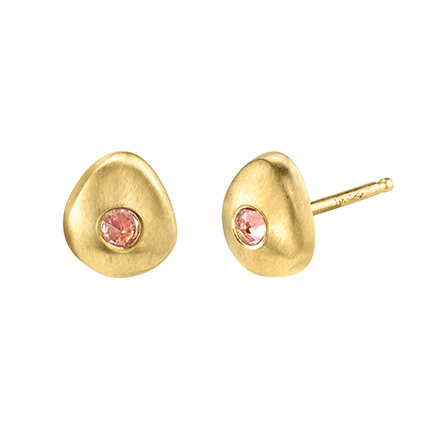 Tata stud earrings in 14k yellow gold with 0.03 ct. pink sapphires, $423
