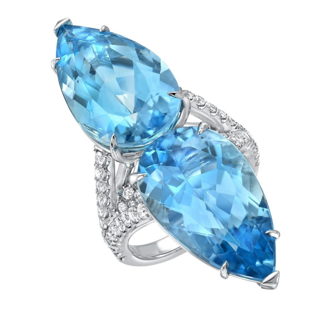 Ring in platinum with 18.59 cts. t.w. pear-shape aquamarines and 0.80 ct. t.w. diamonds, $39,900; email tamir@tamirjewels.com at Tamir Jewels for purchase.