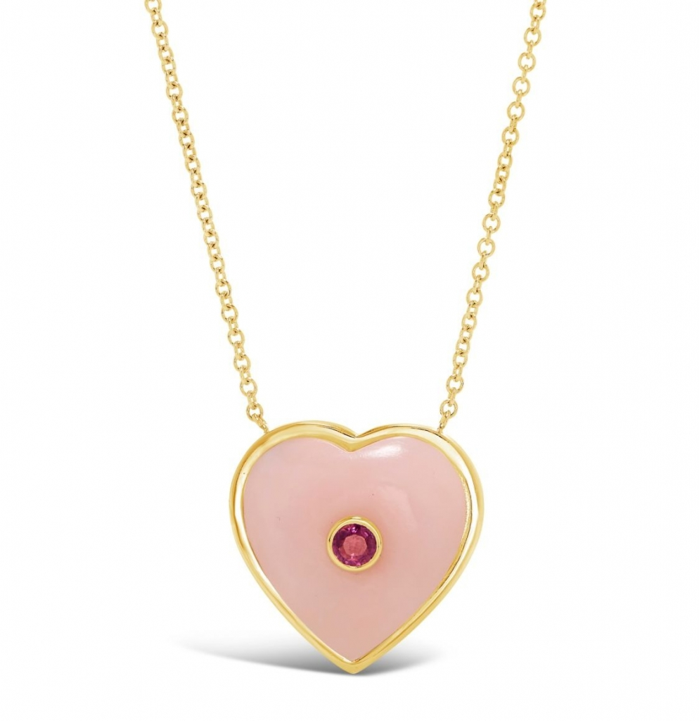 Large Birthstone Puff Heart pendant in 18k yellow gold with pink opal and 0.10 ct. pink sapphire, $2,800; email meaghan@forfuturereference.com at Brent Neale for purchase.