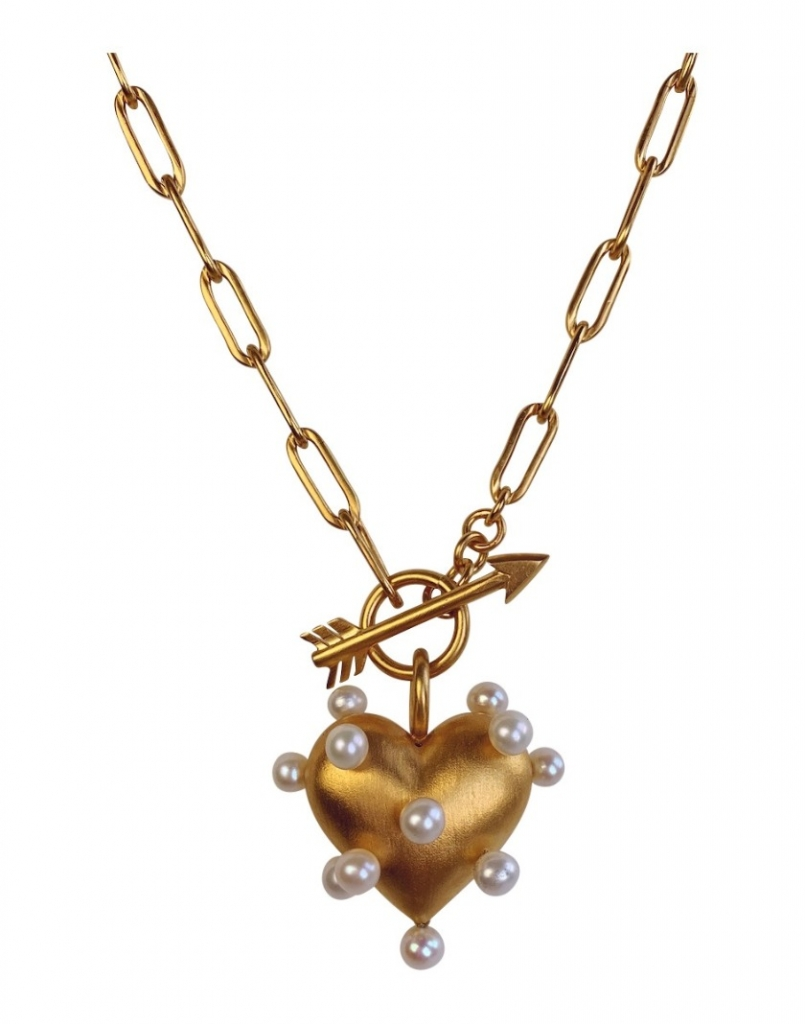 Pin Cushion Heart necklace in 18k gold vermeil with freshwater pearls, $920; Rachel Quinn