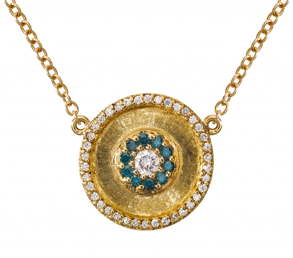 Greek Evil Eye pendant necklace in 18k yellow gold with hand-engraved details and 1.25 cts. t.w. blue and colorless diamonds; $3,200; email vdaste@gmail.com at Vittoria d'Aste-Surcouf for purchase