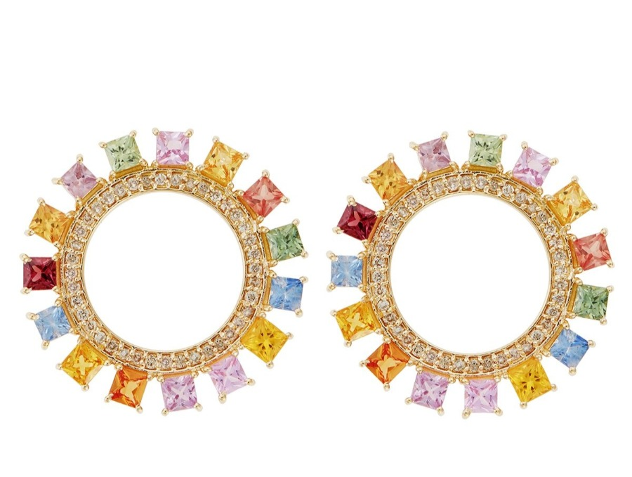 Glimmering Sun earrings in polished 18k yellow gold with 0.55 ct. t.w. light brown diamonds and 4.05 cts. t.w. fancy color sapphires, €3,800; Ileana Makri