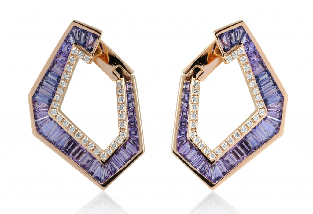 Bypass hoop earrings in 18k gold with 5.3 cts. t.w. purple sapphires and 0.50 ct. t.w. diamonds, $7,700; email hello@kavantandsharart.com at Kavant & Sharart for purchase