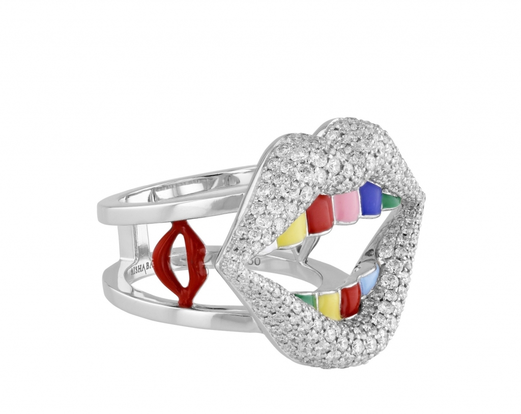 Ring in 18k white gold with enamel and 2.13 cts. t.w. colorless diamonds, $11,800; email mirjana.kozlovacki@aishabaker.com at Aisha Baker for purchase