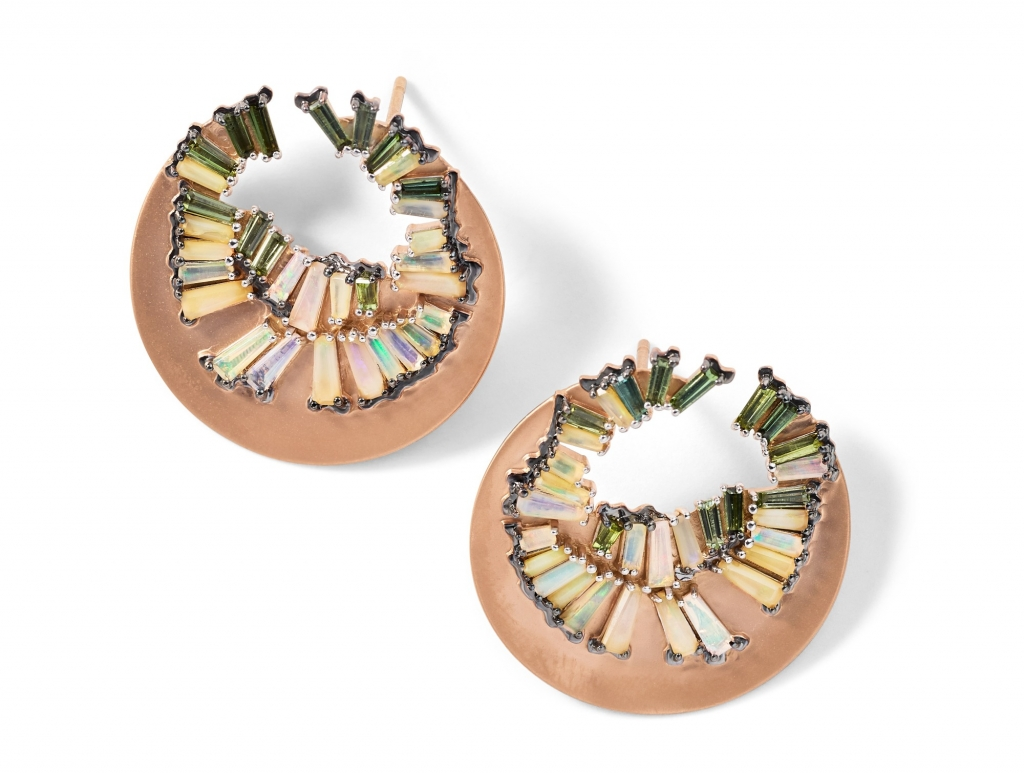Fray bypass hoops in in 20k rose gold with 1.98 cts. t.w. Ethiopian opal and 1.38 cts. t.w. green tourmaline and are 1-1/8 inches in length, $10,850; email sales@nakarmstrong.com at Nak Armstrong for purchase