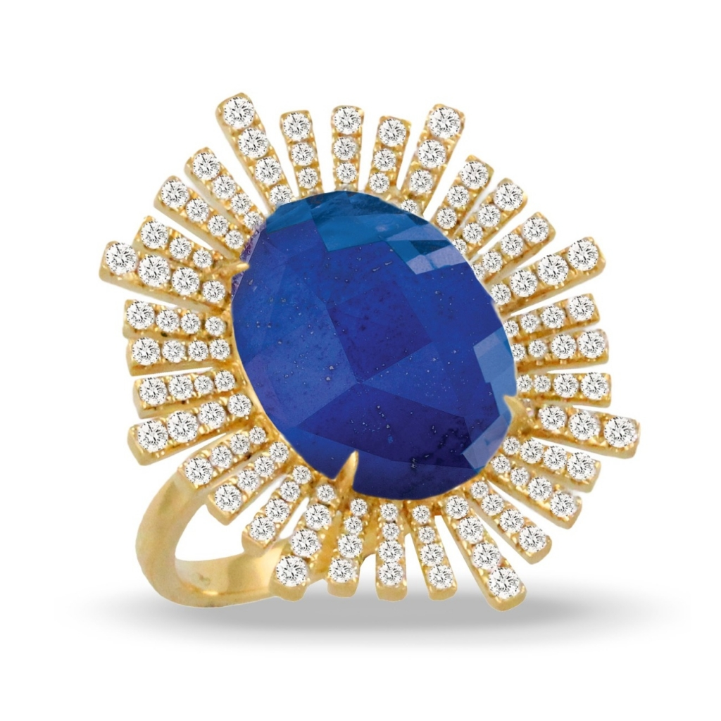 Ring in 18k yellow gold with colorless quartz over a lapis center stone with 0.73 ct. t.w. diamonds, $3,365; email doron@dovesjewelry.com at Doves for purchase.