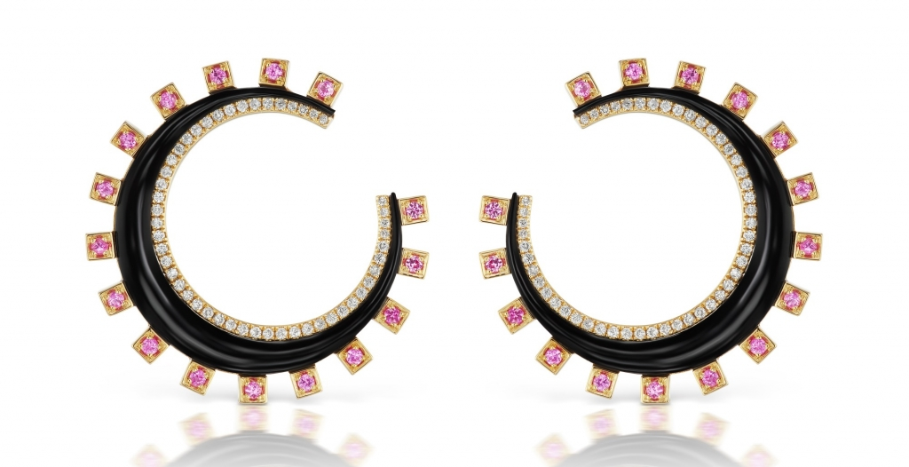 Monroe Crescent earrings in 18k yellow gold with 5.5 cts. t.w. black onyx, 0.60 ct. t.w. pink sapphires, and 0.50 ct. t.w. diamonds, $5,750; email meaghan@forfuturereference.com at Sorellina for purchase