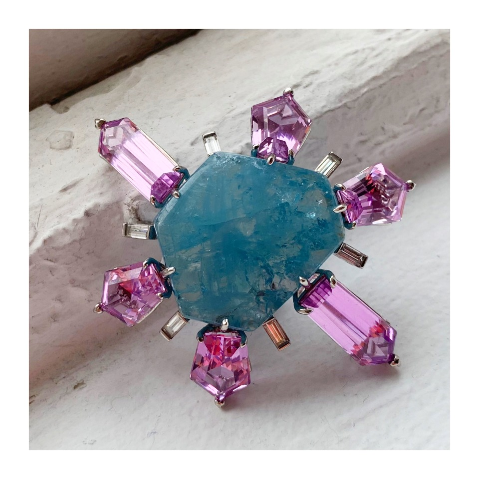 Brooch in platinum with a 56.18 ct. hexagonal-cut aquamarine cabochon with 27.87 cts. t.w. kunzite and 0.84 ct. t.w. diamonds by Myles Mindham
