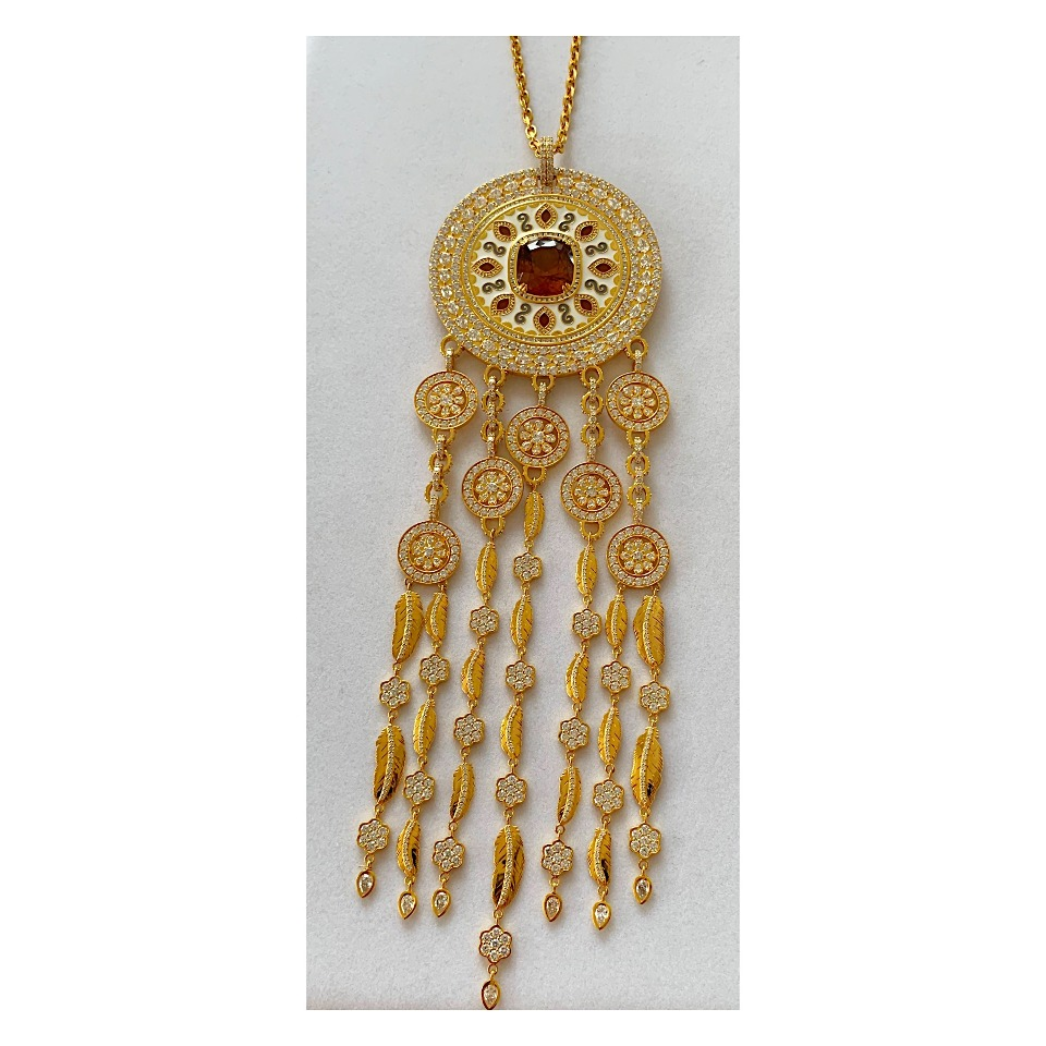 Dreamcatcher pendant necklace in 20k yellow gold with a 42.52 ct. cinnamon-color, cushion-cut zircon with white and gray enamel and diamonds by Buddha Mama