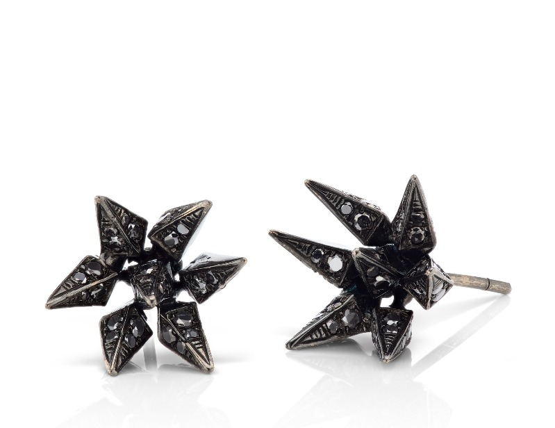 Hedgehog earrings in 18k blackened gold with 0.65 ct. t.w. black diamonds, $2,600; email Diana@KarmaelKhalil.com at Karma El Khalil for purchase