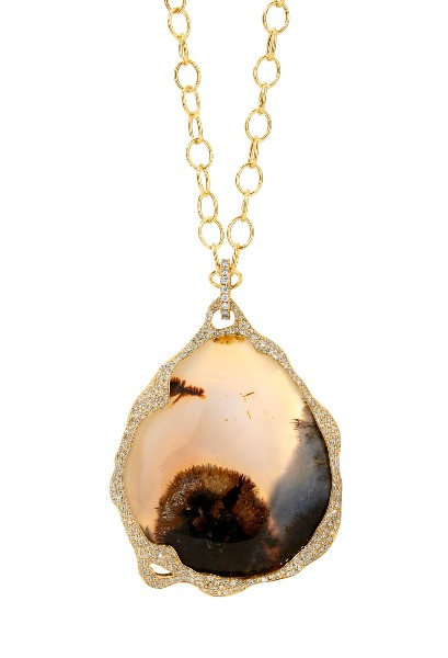 Limited-edition reversible pendant necklace in 18k yellow gold with a 104 ct. agate and 1.5 cts. t.w. champagne-color diamonds, $12,500; email dksyna@gmail.com at Syna for purchase