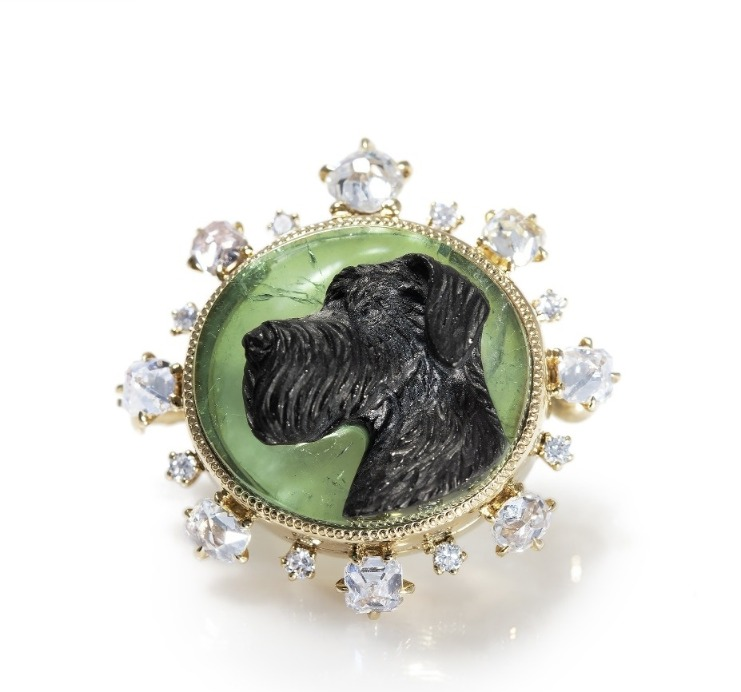 One-of-a-kind hand-carved brooch in 18k beige gold with a 10.22 ct. tourmaline and 0.85 ct. t.w. diamonds, $14,280; Kataoka