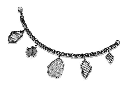 Bracelet in 18k gold with black rhodium and diamonds from Kimberly McDonald