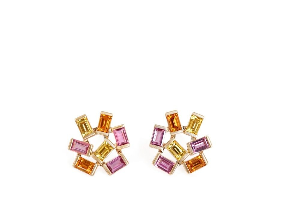 Jubilation studs in 14k yellow gold with baguette-cut pink, yellow, and orange sapphires, $4,000; available online at Emily Kuvin