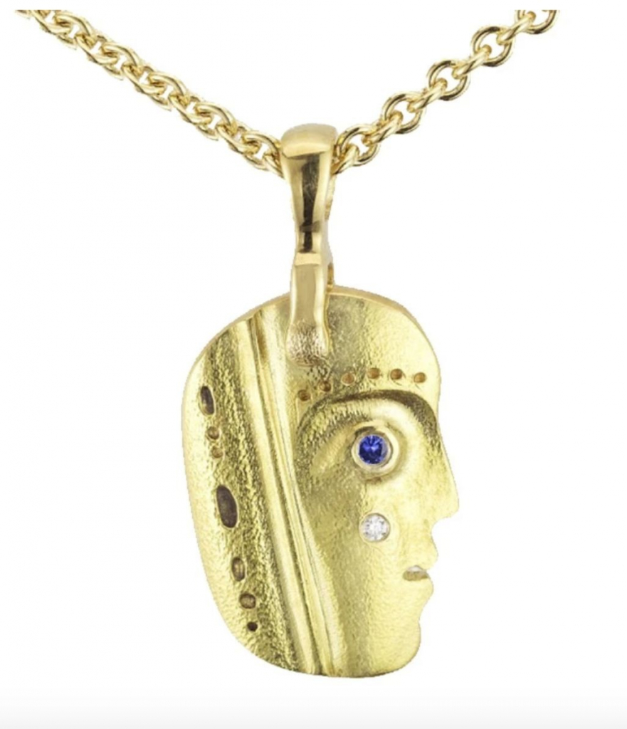 Till We Have Faces pendant necklace in 18k yellow gold with sapphire accents, $1,050 (does not include chain); Alex Sepkus at Passion Fine Jewelry